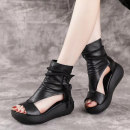 Sandals 35 36 37 38 39 40 Black Brown top layer leather Fish mouth Slope heel High heel (5-8cm) Spring 2021 zipper Europe and America Solid color Adhesive shoes Youth (18-40 years old) rubber daily Bag heel waterproof Gao Bang PU PU peep-toe Shaving Women's