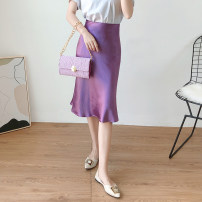 skirt Summer 2020 XS,S,M,L,XL,2XL,3XL,4XL Mid length dress commute High waist A-line skirt Solid color Type A 30-34 years old More than 95% Silk and satin Other / other Cellulose acetate Simplicity 201g / m ^ 2 (including) - 250G / m ^ 2 (including)