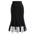 skirt Winter 2020 S,M,L black Mid length dress commute High waist Ruffle Skirt Solid color Type A 25-29 years old Phoebe Hz / Phoebe Hz polyester fiber zipper Britain