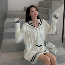 Wool knitwear Autumn 2020 S M L Off white black Long sleeves singleton  Socket other More than 95% Medium length routine commute easy V-neck routine stripe Socket Korean version QC2020091001 18-24 years old Qian Dynasty Strap thread Other 100% Pure e-commerce (online only)