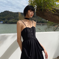 Dress Spring 2021 White, black S,M,L longuette singleton  Sleeveless street V-neck High waist Solid color Socket A-line skirt routine camisole 18-24 years old Type A Button 71% (inclusive) - 80% (inclusive) polyester fiber