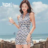 one piece  DK M,L,XL,XXL Decor Skirt one piece Steel strap breast pad Nylon, spandex, polyester, others DK8439 female Sleeveless Casual swimsuit