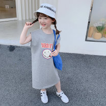 Dress female yojia Other 100% summer Korean version Short sleeve Solid color other A-line skirt 21XQ135 18 months, 2 years old, 3 years old, 4 years old, 5 years old, 6 years old, 7 years old, 8 years old Summer 2021 Gray size enough, not fat baby is recommended by height