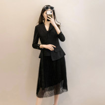 Dress Spring 2021 Black, red 36,38,40,42,44 Middle-skirt Fake two pieces Long sleeves commute tailored collar middle-waisted Solid color Socket Pleated skirt other Others 35-39 years old Type H Simplicity Lacing, stitching, asymmetry KF00030W0 81% (inclusive) - 90% (inclusive) other other