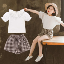 suit County gold white 110cm 120cm 130cm 140cm 150cm 160cm female summer Korean version Short sleeve + pants 2 pieces Thin money There are models in the real shooting Socket nothing Solid color other Expression of love Yucongcong & 522 plaid skirt suit Other 100%