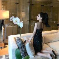 Dress Summer of 2019 black XS,S,M Short skirt singleton  One word collar High waist Type A Other / other Diamond inlay