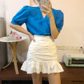skirt Spring 2021 S M L XL white Short skirt commute High waist Ruffle Skirt Solid color 18-24 years old More than 95% other Korean version Other 100% Pure e-commerce (online only)