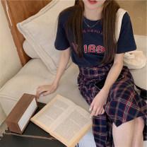 Fashion suit Summer 2021 S M L XL Blue T-shirt + Tibetan plaid skirt Tibetan Plaid Skirt Blue T-Shirt 18-25 years old Jielizhen jlz0132454 Other 100% Pure e-commerce (online only)