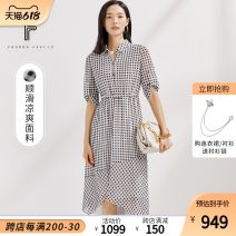Dress Summer 2021 Medium length skirt singleton  elbow sleeve commute square neck lattice High waist Condom 25-29 years old other routine More than 95% polyester fiber Type H Other FF00606 literature FUUNNY FEELLN Chiffon Polyester 100% Same model in shopping malls (both online and offline)