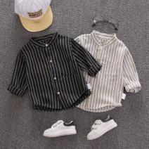 shirt Lizu bear neutral 80cm 90cm 100cm 110cm 120cm spring and autumn Long sleeves stripe cotton stand collar Cotton 95% polyurethane elastic fiber (spandex) 5% Wide strip Class A Autumn of 2019