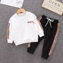suit Lizu bear 80cm 90cm 100cm 110cm 120cm neutral spring and autumn leisure time Long sleeve + pants 2 pieces routine Socket nothing lattice cotton children Expression of love Class A Cotton 95% polyurethane elastic fiber (spandex) 5% Autumn of 2019 Chinese Mainland