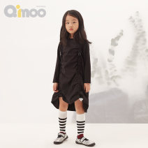 Dress Ice crystal green sesame black female Qimoo / Qimu 110cm 120cm 130cm 140cm 150cm Cotton 59.9% polyamide fiber (nylon) 32% polyurethane elastic fiber (spandex) 8.1% spring and autumn Simplicity Long sleeves Solid color QZS1LC201B Autumn 2020 Chinese Mainland