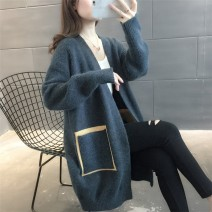 Wool knitwear Spring 2021 Average size G61 light navy, c36-u-red, p19-f-off white, F24 Pink Long sleeves singleton  Cardigan other 31% (inclusive) - 50% (inclusive) Medium length routine commute easy V-neck routine Color matching Korean version K5681 25-29 years old Other / other pocket