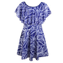 Parent child fashion Red and white flowers, feathers, yellow flowers, blue leaves, orchids, red leaves Father daughter dress female Other / other The average size is 5XL, which can wear 130 to 180 Jin Type * undetermined fresh thickening printing polyester fiber Average size other XL 18 months