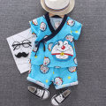 Home suit Zhiqinnuo 80cm 90cm 100cm 110cm Blue - Dingdang cat Pajamas Pink - little crook pajamas summer neutral 12 months under 1 year old 18 months 2 years old 3 years old Anti static and deodorant at home cotton Class A zjsy-01 Summer 2020
