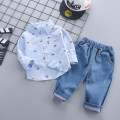 suit Zhiqinnuo Blue - car shirt cover white - car shirt cover 80cm 90cm 100cm 110cm male spring and autumn leisure time Long sleeve + pants 2 pieces routine No model Single breasted nothing Broken flowers cotton children Expression of love zltz-qz-04 Class A Autumn of 2019