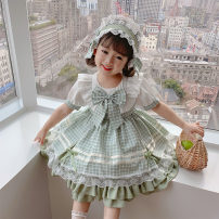 Dress green female Mokabati 90cm 100cm 110cm 120cm 130cm Other 100% summer Lolita Short sleeve lattice cotton A-line skirt Class A Spring 2021 18 months, 2 years old, 3 years old, 4 years old, 5 years old, 6 years old, 7 years old, 8 years old Chinese Mainland Zhejiang Province Huzhou City