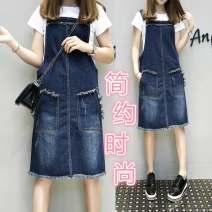 Dress Summer of 2018 Middle-skirt singleton  Short sleeve commute Crew neck Socket A-line skirt routine straps Others 93 Korean version Asymmetry 31% (inclusive) - 50% (inclusive) Denim cotton