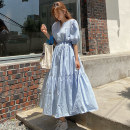 Dress Summer 2020 Blue Beige S M L XL longuette singleton  Short sleeve commute V-neck Loose waist Solid color Socket Big swing puff sleeve 25-29 years old Type A Yi Mengna Korean version Pleated lacing LYQ502 51% (inclusive) - 70% (inclusive) cotton Cotton 70% polyester 30%