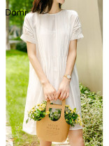 Dress Spring 2021 White / with sling [within 15 days after payment] S M L Middle-skirt Two piece set Short sleeve commute Crew neck Solid color Socket routine Others 30-34 years old domr Ol style domr91570 51% (inclusive) - 70% (inclusive) cotton Cotton 70% Silk 30% Pure e-commerce (online only)