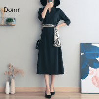Dress Spring 2021 Black half sleeve [about 15 days after payment] black short sleeve [about 15 days after payment] S M L XL 2XL longuette singleton  Short sleeve commute V-neck High waist Solid color Socket Ruffle Skirt routine Others 30-34 years old Type X domr Retro Bow and ruffle lace up zipper