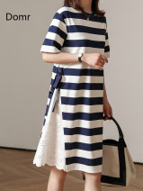 Dress Spring 2021 Blue and white stripes [about 15 days after payment] M L Mid length dress singleton  Short sleeve commute Crew neck Loose waist stripe Socket One pace skirt routine Others 30-34 years old Type H domr domr91651 51% (inclusive) - 70% (inclusive) cotton