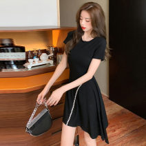 Dress Summer 2021 black S M L XL Short skirt singleton  Short sleeve Crew neck High waist Solid color Socket Irregular skirt routine Others 25-29 years old Type X North wind drum Open back asymmetric 330# More than 95% other Other 100% Pure e-commerce (online only)