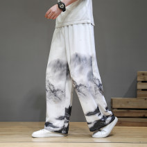 Casual pants Yier Youth fashion Picture color M L XL 2XL 3XL 4XL 5XL routine trousers Other leisure easy No bullet summer youth Chinese style 2021 middle-waisted Straight cylinder Other 100% Haren pants Pocket decoration washing Ethnic style cotton Summer 2021 Pure e-commerce (online only)