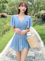 one piece  Other XXL,XL,L,M Skirt one piece Steel strap breast pad Nylon, spandex female Short sleeve Casual swimsuit Lotus leaf edge