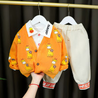 suit Deer hemp 73cm 80cm 90cm 100cm 110cm 120cm male spring and autumn leisure time Long sleeve + pants 3 pieces routine No model Single breasted nothing Cartoon animation cotton children Expression of love LMMCZ205 Class A Cotton 95% polyester 5% Spring 2021 Chinese Mainland