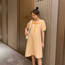 Dress Terry Kennedy yellow M,L,XL,XXL Korean version Short sleeve Medium length summer square neck lattice nylon TK-63010