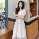 Women's large Summer 2021 Apricot Lavender S M L Dress singleton  commute Self cultivation moderate Socket Short sleeve Solid color Korean version square neck routine routine TT-5823 Sanskrit vine 18-24 years old Lace stitching Medium length Other 100% Pure e-commerce (online only) other