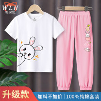 suit Dancelngho / dancing Fox 105cm 110cm 120cm 130cm 140cm 150cm 160cm female summer leisure time Short sleeve + pants 2 pieces routine There are models in the real shooting Socket nothing Cartoon animation cotton children Expression of love DHK-5 Class B Cotton 100% Spring 2020 Chinese Mainland