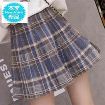 skirt Autumn 2020 S,M,L,XL Short skirt commute High waist A-line skirt lattice Type A 18-24 years old 51% (inclusive) - 70% (inclusive) other Fold, wave, zipper, stitching Korean version