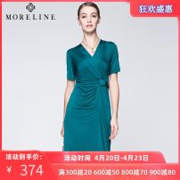 Dress Summer 2017 Picture color 36 38 40 42 44 46 48 Middle-skirt singleton  Short sleeve commute V-neck middle-waisted Solid color Socket One pace skirt routine Others 40-49 years old Type H MORELINE Ol style 91% (inclusive) - 95% (inclusive) polyester fiber Pure e-commerce (online only)