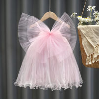 Dress female Children's color and fragrance Other 100% summer princess Short sleeve other Solid color Fluffy skirt 20210422032 18 months, 2 years old, 3 years old, 4 years old, 5 years old, 6 years old, 7 years old, 8 years old, 9 years old, 10 years old Summer 2021 White yellow pink