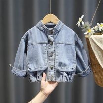 Plain coat Children's color and fragrance female 80cm 90cm 100cm 110cm 120cm 130cm wathet spring and autumn Korean version Single breasted No model routine nothing Solid color other Crew neck Other 100% Summer 2020