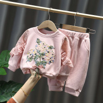 suit Children's color and fragrance Pink purple blue 80cm 90cm 100cm 110cm 120cm female spring and autumn leisure time Long sleeve + pants 2 pieces routine No model Socket nothing Solid color other children Giving presents at school Other 100% Spring 2020