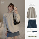 Fashion suit Winter 2020 S,M,L,XL Light grey_ Sweater, Khaki_ Leather skirt, blue_ Leather skirt 18-25 years old Other / other