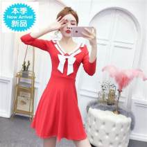 Dress Spring 2020 White 9077 - 75O , Black 9077 - seven hundred and ninety-one , Red 9077 - 9H1 M high quality cotton , S quality cotton , XL high quality cotton , L high quality cotton Short skirt singleton  Long sleeves Sweet middle-waisted Solid color Socket Big swing Others 18-24 years old Type H