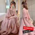 Women's large Summer 2021 Apricot, pink, yellow M suggests 90-120 Jin, l 120-135 Jin, XL 135-155 Jin, 2XL 155-175 Jin, 3XL 175-210 Jin Dress singleton  commute easy moderate Socket Short sleeve Solid color Korean version V-neck Polyester, cotton Other / other Medium length