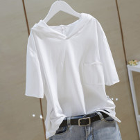 T-shirt White, black M,L,XL,2XL,3XL,4XL Summer 2021 Short sleeve Hood easy Regular routine commute cotton 96% and above 25-29 years old Korean version classic pocket