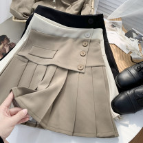 skirt Summer 2021 S,M,L Black, apricot, light khaki Short skirt commute High waist A-line skirt Solid color Type A 18-24 years old 71% (inclusive) - 80% (inclusive) other Other / other other Korean version