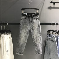 Women's large Summer 2021 grey XL(100-120),2XL(120-140),3XL(140-160),4XL(160-180),5XL(180-200) Jeans singleton  commute easy moderate shape Korean version Denim Other / other Embroidery 81% (inclusive) - 90% (inclusive) Ninth pants