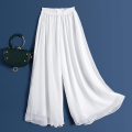 Casual pants Summer 2021 Ninth pants Wide leg pants High waist commute Thin money 96% and above Other / other Cellulose acetate Korean version fold polyester fiber