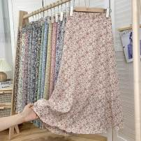 skirt Summer 2021 Average size 1,2,3,4,5,6,7,8,9,10,11,12,13,14,15,16,17,18 longuette commute High waist A-line skirt Broken flowers Type A Chiffon Other / other Pleating, pleating, printing, stitching Korean version
