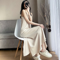 Dress Summer 2021 S,M,L,XL,2XL,3XL longuette singleton  Sleeveless commute V-neck High waist Solid color Socket other other camisole 18-24 years old Type H Other / other Korean version 71% (inclusive) - 80% (inclusive)