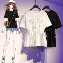 Women's large Summer 2021 White, black XL120 ~ 140kg, 2xl140 ~ 160kg, 3xl160 ~ 180kg, 4xl180 ~ 200kg, L95 ~ 120kg T-shirt Fake two pieces commute easy moderate Socket Short sleeve Solid color Korean version Crew neck routine polyester Three dimensional cutting routine Other / other belt