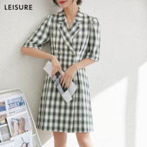 Dress Spring 2021 Green and white S,M,L longuette three quarter sleeve 30-34 years old S021033L10 other polyester fiber