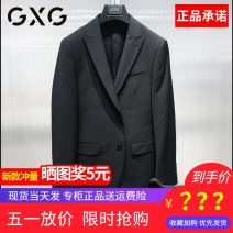 man 's suit black GXG Business gentleman routine 165/S,170/M,175/L,180/XL,185/XXL,190/XXXL GC113961L Polyester fiber 50.9% wool 42.2% polyurethane elastic fiber (spandex) 6.9% Self cultivation Double breasted Other leisure Back middle slit youth Long sleeves spring routine Business Casual Flat lapel